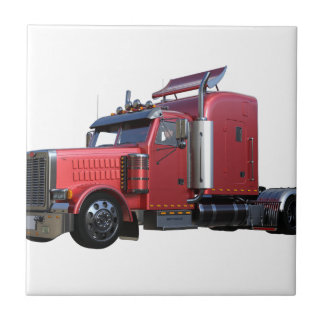 Metallic Red Semi TruckIn Three Quarter View Tile