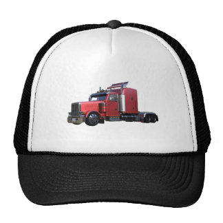 Metallic Red Semi TruckIn Three Quarter View Trucker Hat
