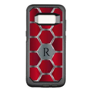 Metallic Red & Silver Geometric pattern OtterBox Commuter Samsung Galaxy S8 Case