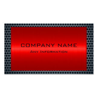 Metallic Red Stainless Gray Steel Hole Look Pack Of Standard Business Cards