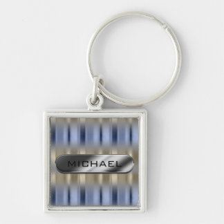 Metallic Reflections and Nameplate ID287 Silver-Colored Square Keychain