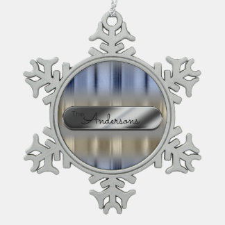 Metallic Reflections and Nameplate ID287 Snowflake Pewter Christmas Ornament