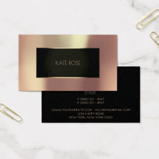 Metallic Rose Gold Black Champaign Frame Vip Business Card