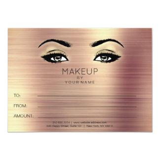 Metallic Rose Gold Makeup Beauty Certificate Gift Card