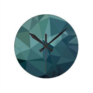 Metallic Seaweed Green Abstract Low Polygon Backgr Round Clock