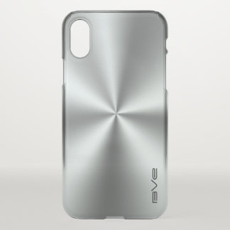 Metallic Shiny Silver Gray Stainless Steel Look iPhone X Case