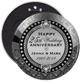 Metallic Silver 25th Wedding Anniversary 2 6 Inch Round Button
