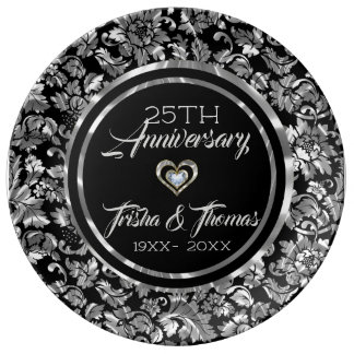 Metallic Silver And Black Damask 25th Anniversary Plate