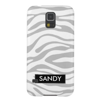 Metallic Silver and White Zebra Monogram Galaxy S5 Case