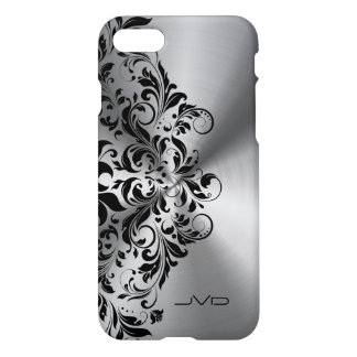 Metallic Silver & Black Floral Lace iPhone 7 Case