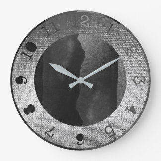 Metallic Silver Black Graphite Contemporary Paint Large Clock