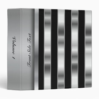 Metallic Silver & Black Stripes | Personalize Vinyl Binders