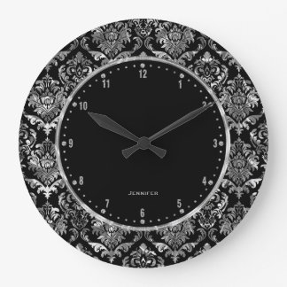 Metallic Silver & Black Vintage Floral Damasks 2 Large Clock