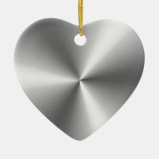 Metallic Silver Ceramic Heart Ornament