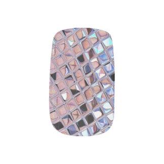 Metallic Silver Disco Ball Mirrors Faux Fingernail Decal