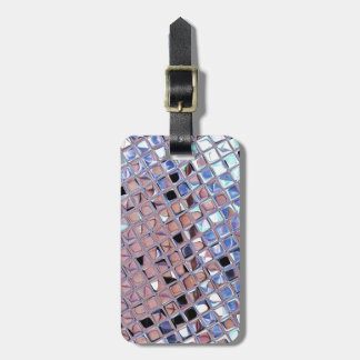 Metallic Silver Disco Ball Mirrors Faux Luggage Tag