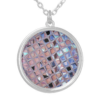 Metallic Silver Disco Ball Mirrors Faux Silver Plated Necklace