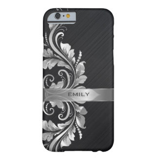 Metallic Silver Floral Swirl Black Background Barely There iPhone 6 Case