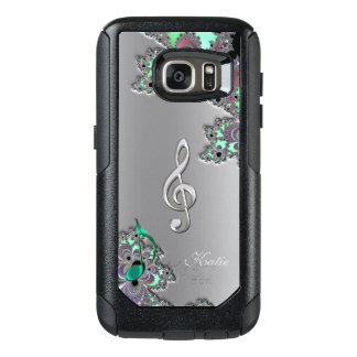Metallic Silver Fractal Music Clef Galaxy S7 Case
