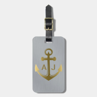 Metallic Silver Gold Nautical Anchor Monogrammed Luggage Tag