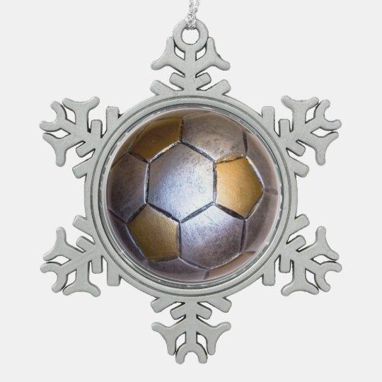 Metallic Silver & gold Soccer Ball Pewter Snowflake Ornament