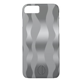Metallic Silver Gray Abstract Wavy Stripes iPhone 7 Case