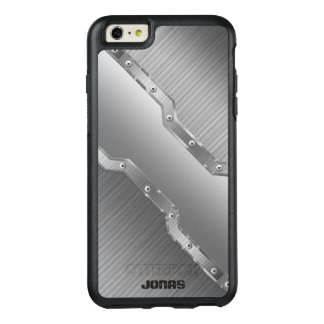 Metallic Silver Gray Brushed Metal Look Monogram OtterBox iPhone 6/6s Plus Case