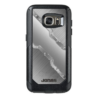 Metallic Silver Gray Brushed Metal Look OtterBox Samsung Galaxy S7 Case