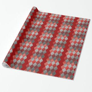 Metallic Silver Gray Red Diamond Elegant Wrapping Paper
