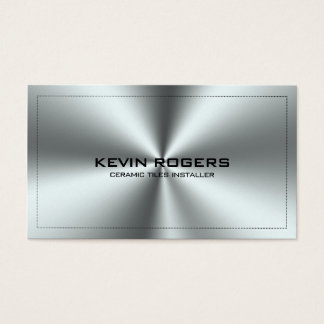 Metallic Silver Gray Stainless Steel Print Business Card