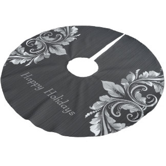 Metallic Silver Gray Swirls Over Black Background Brushed Polyester Tree Skirt