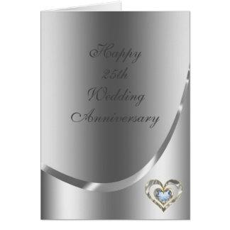 Metallic Silver Gray With Diamonds Heart Card