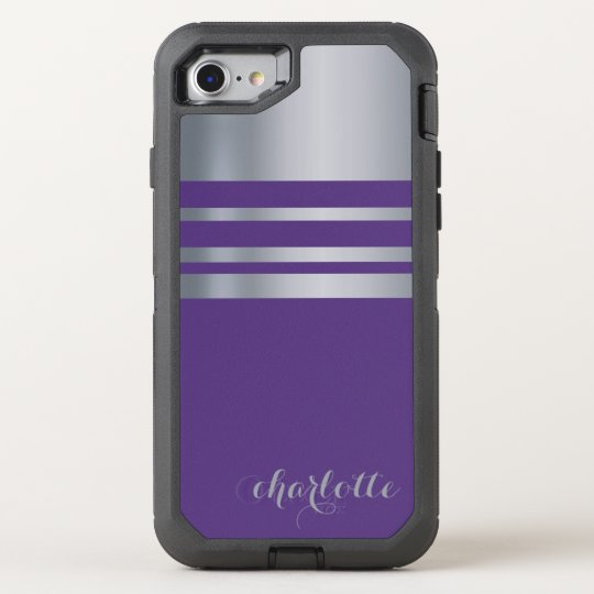 Metallic Silver, Grey And Purple OtterBox Defender iPhone 7 Case