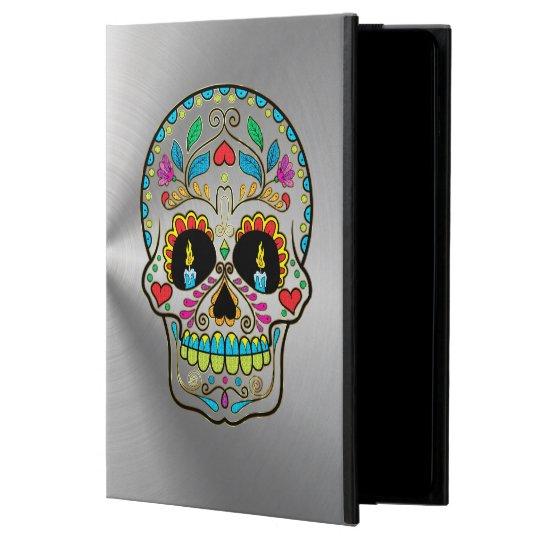 Metallic Silver Grey With Colourful Sugar Skull Powis iPad Air 2 Case