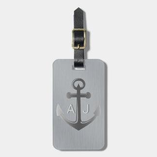 Metallic Silver Nautical Anchor Monogram Luggage Tag