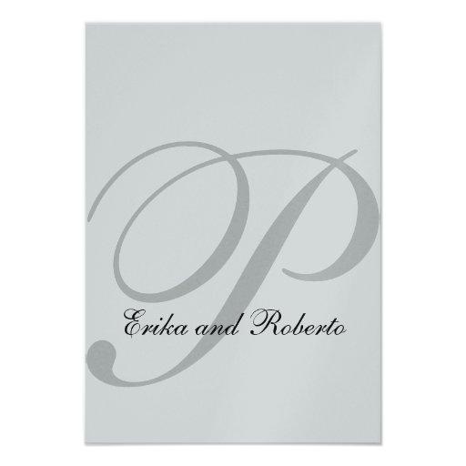 Metallic Silver Paper Monogram Wedding RSVP Cards Announcement