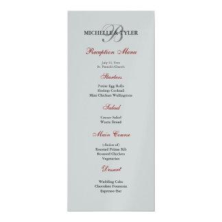 "Metallic Silver & Red Monogram Wedding Menu 4"" X 9.25"" Invitation Card"