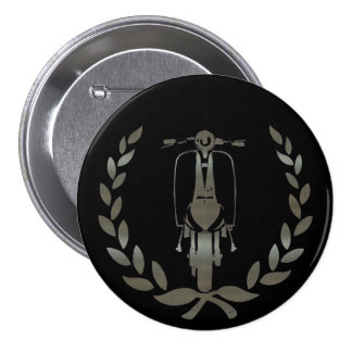 Metallic Silver scooter and laurel 3 Inch Round Button