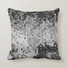 Metallic Silver Sequins Glitter Abstract Pixel Art Throw Pillow