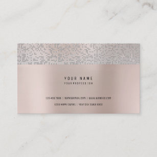 Powder pink business cards profile cards zazzle ca metallic silver warm pink rose powder sequin business card colourmoves