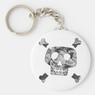 Metallic Skull Basic Round Button Keychain