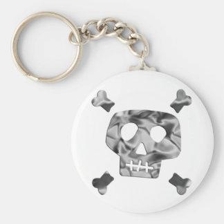 Metallic Skull Keychain