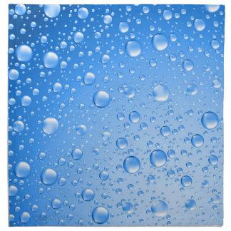 Metallic Sky Blue Rain Drops Cloth Napkin