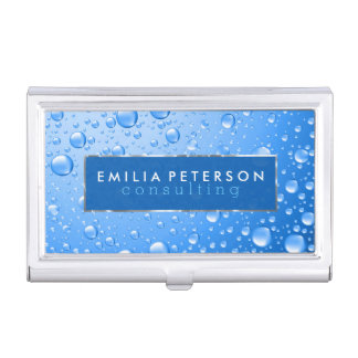 Metallic Sky Blue Rain Drops Silver Accents Business Card Holder