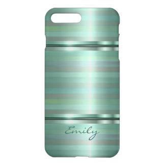 Metallic Soft Green Stripes Pattern Monogram iPhone 7 Plus Case