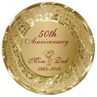 Metallic Sparkling Gold 50th Anniversary Plate