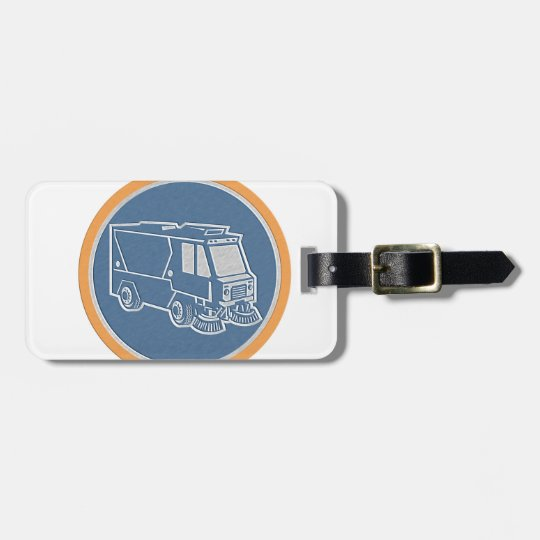 Metallic Street Cleaner Truck Circle Retro Luggage Tag