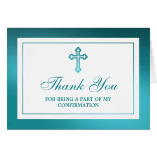 Metallic Teal Cross Holy Communion Or Confirmation Card
