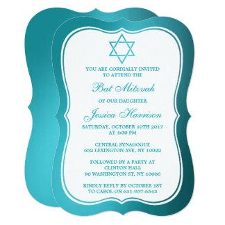Metallic Teal Jewish Star Of David Bat Mitzvah Card