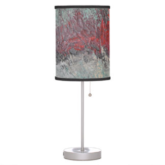 Metallic Teal, Silver, Red Shade Desk Lamp